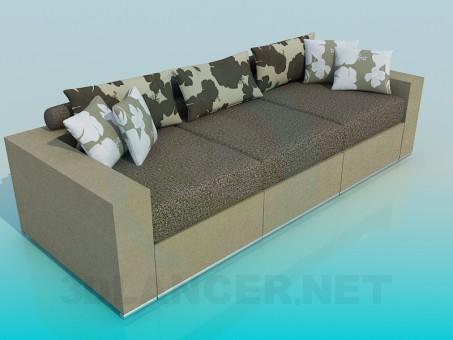 3d моделирование Диван-софа с подушками модель скачать бесплатно