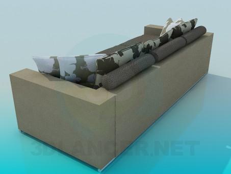 3d модель Диван-софа с подушками – превью