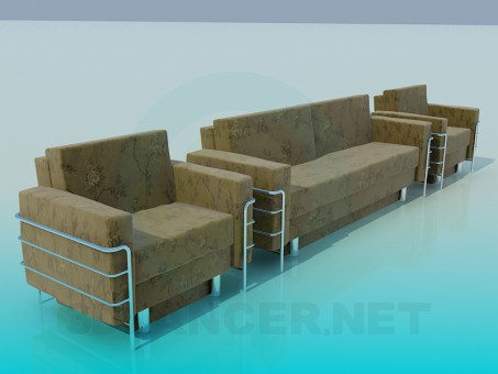 3d model Sofa with armchair - preview