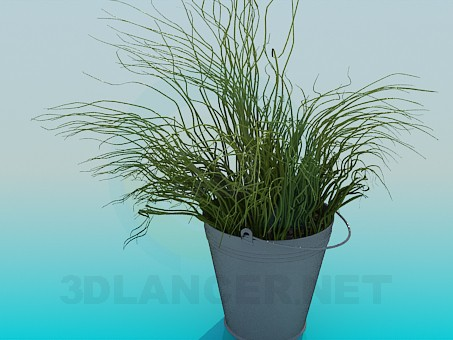 3d model Bucket with decorative grass - preview