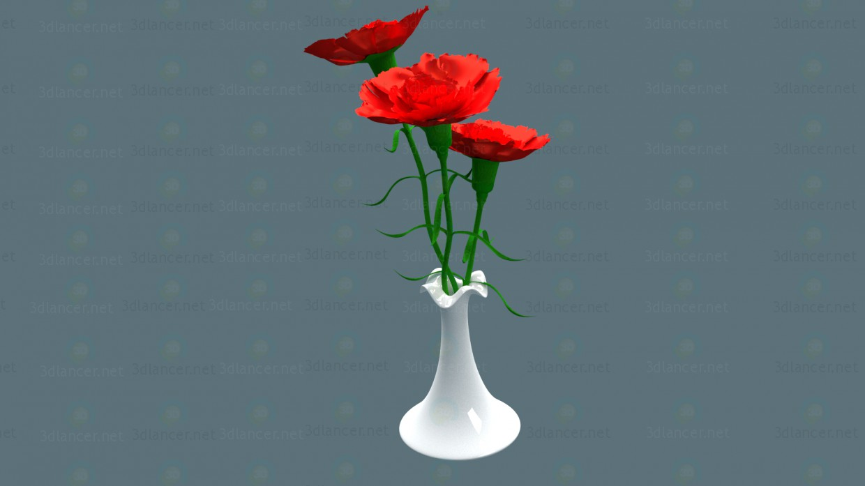 3d modeling Carnations in a vase model free download