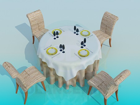 3d model Table in the restaurant - preview
