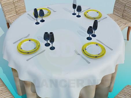 3d модель Столик в ресторан – превью