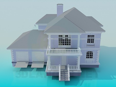 modelo 3D Casa de dos plantas - escuchar