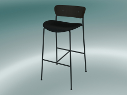 Bar stool Pavilion (AV10, H 95cm, 50х52cm, Walnut, Leather - Black Silk)