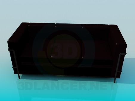 descarga gratuita de 3D modelado modelo Marrón oscuro de sofá