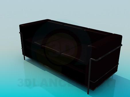 3d модель Диван темно-коричневый – превью
