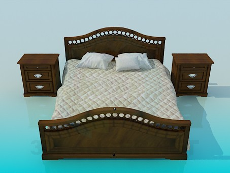 3d model Bed and bedside tables complete - preview