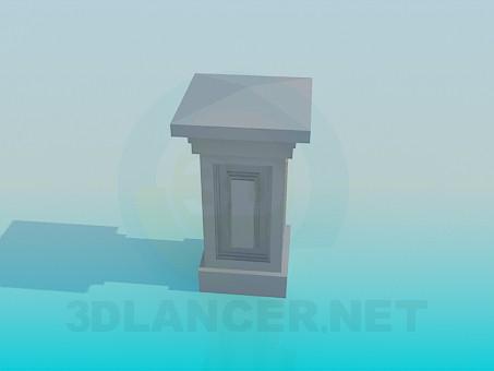 modelo 3D Columna cuadrada baja - escuchar