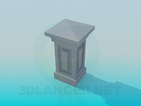 3d модель Низька квадратна колона – превью