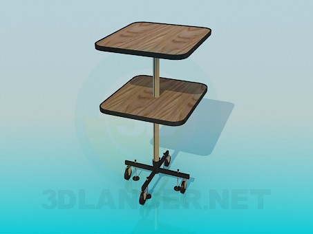 3d model Two-tier table on wheels - preview