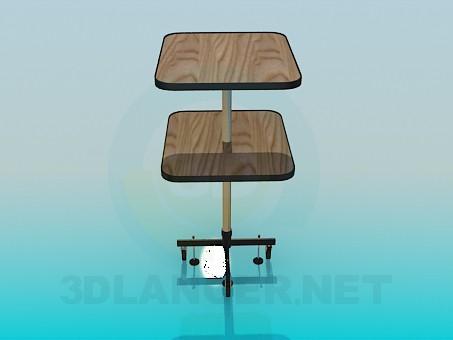 modelo 3D Mesa de dos niveles con ruedas - escuchar