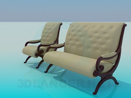 3d model Sofa and chair in the set - preview