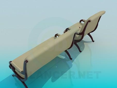 modelo 3D Sofá y silla en el conjunto de - escuchar