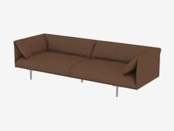 Brown leather sofa triple
