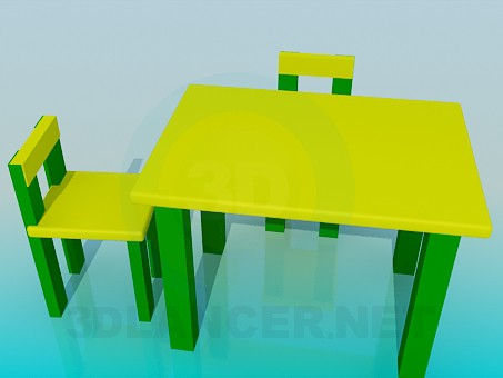 3d modeling Table with chairs for children model free download