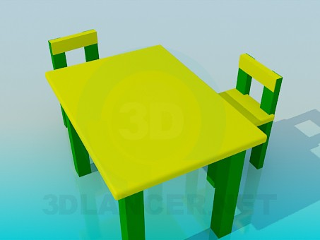 3d model Table with chairs for children - preview