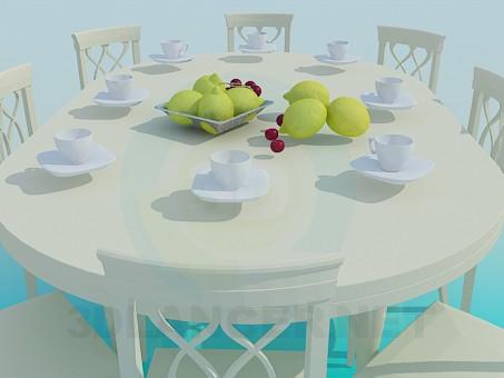 3d модель Обеденный стол со скругленной крышкой – превью