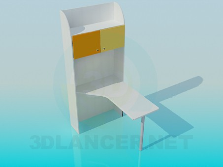 3d model Writing desk with shelves - preview