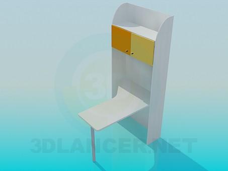 3d модель Стол письменный с полками – превью