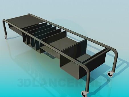 3d модель Передвижной стол для книг – превью