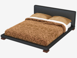Double bed in leather Vulcano finish