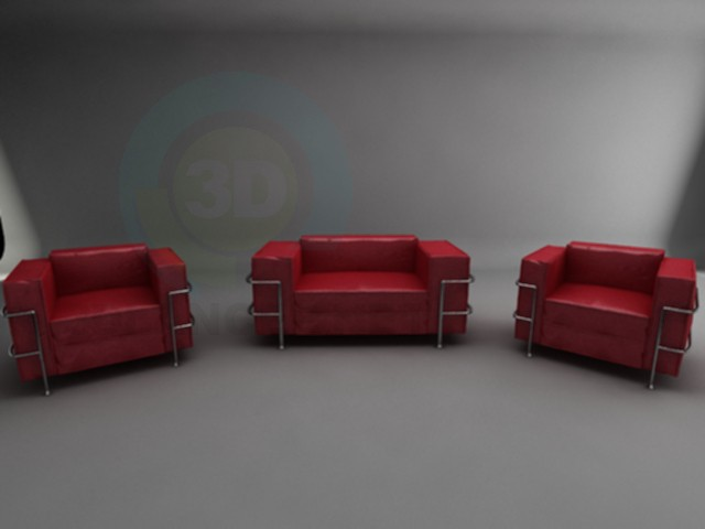 3d model Red leather sofa + 2 armchairs - preview