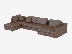 Sofa, modular, leather, angular