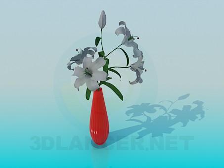 modelo 3D Lirios en un jarrón - escuchar