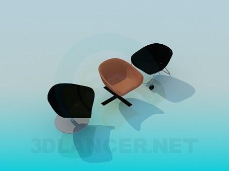 descarga gratuita de 3D modelado modelo Sillas para mesa de centro