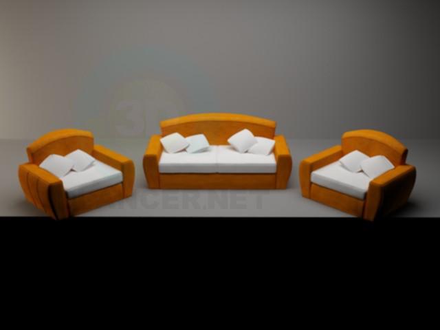 3d модель Диван + 2 крісла – превью