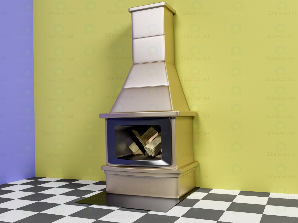 3d model Fireplace with firewood - preview