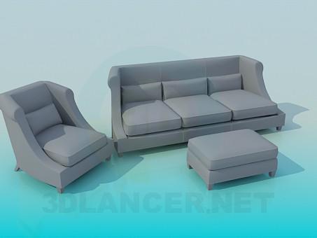 descarga gratuita de 3D modelado modelo Sofá, silla y otomano