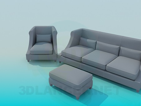 3d model Sofa, Chair and Ottoman - preview