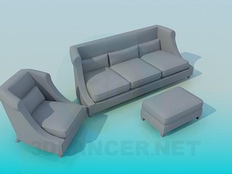 modelo 3D Sofá, silla y otomano - escuchar