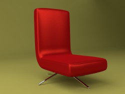 Chair made of red leather with metal legs