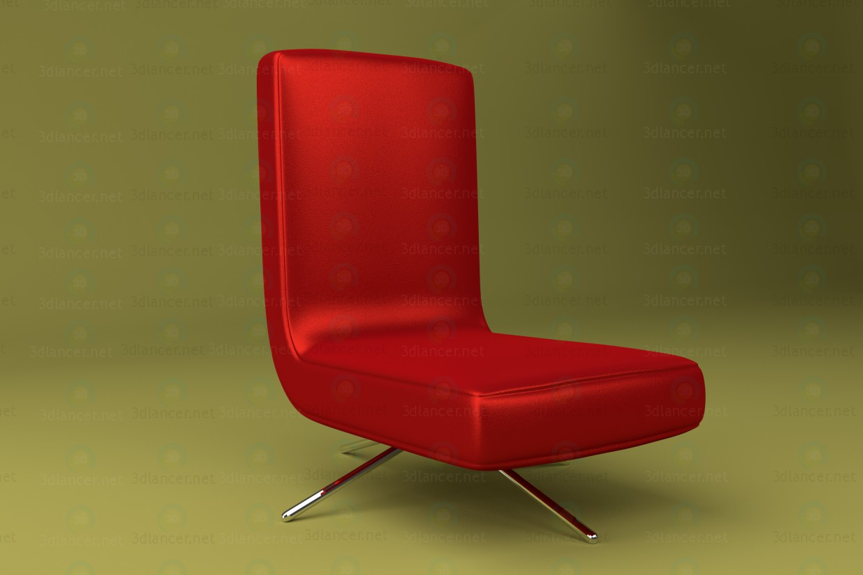 3d model Chair made of red leather with metal legs - preview