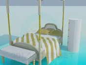 Bed with roof and bedside tables