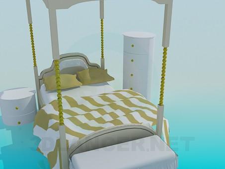 modelo 3D Cama con techo y mesitas de noche - escuchar