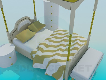 3d model Bed with roof and bedside tables - preview