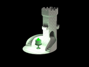 A flower pot stylized as a tower
