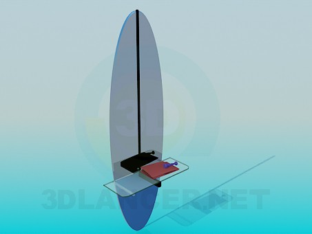 3d model Mirror with glass shelf - preview