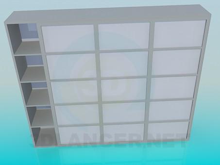 3d моделирование Стеллаж с раздвижными дверками модель скачать бесплатно