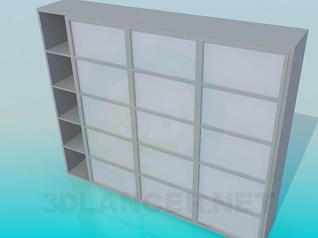 3d модель Стеллаж с раздвижными дверками – превью