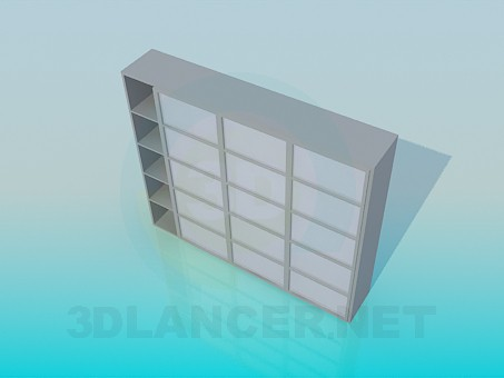 3d model Set of shelves with sliding doors - preview