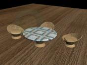Table et chaises en osier