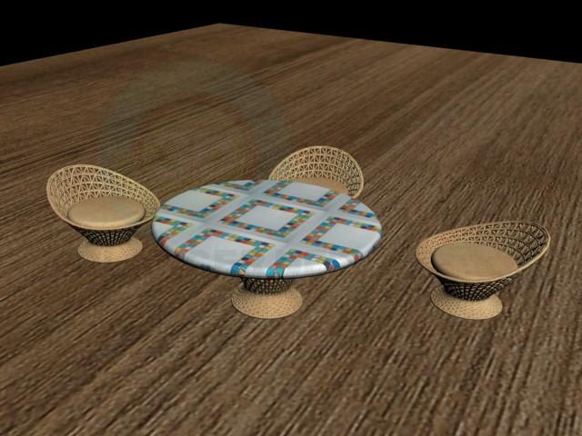 3d модель Столик і стільці плетені – превью