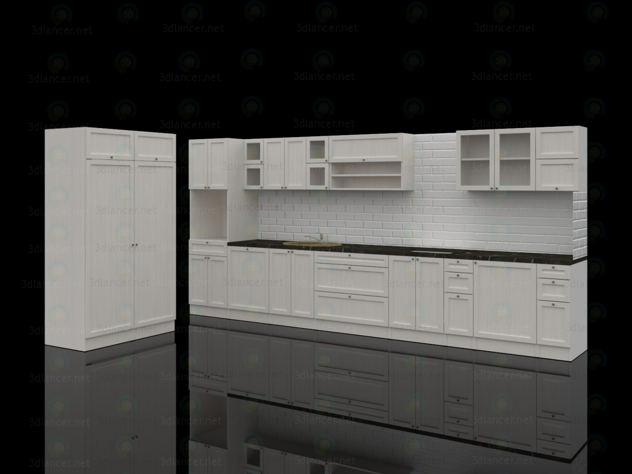3d  The kitchen in the style of southern France  model buy - render