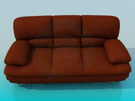 modelo 3D Sofá cuero alta poli - escuchar