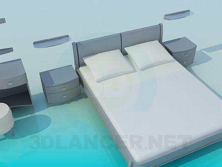 3d модель Кровать, тумбочки и трюмо в наборе – превью